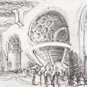 Progetto per un allestimento di teatro-anfiteatro nella Basilica di Massenzio, Roma